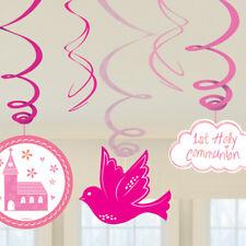 1st Holy Communion Celebration Hanging Swirls Pink Communion Party Decorations