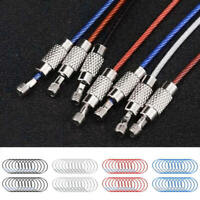 20pcs Stainless Steel EDC Aircraft Cable Wire Key Chain Ring Twist Screw Locking