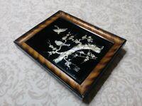 Vintage wall art mid century abalone nacre shell inlay birds japan Japanese