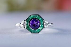 1.25 ct Emerald & Amethyst CZ Vintage Art Deco Style Engagement Ring 925 Silver