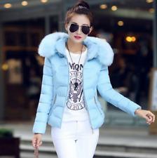 Winter Women's Down Cotton Short Fur Collar Hooded Coat Warm Jacket Pink blue