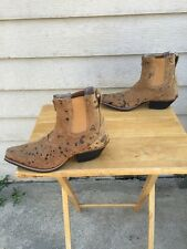 Women's 7 M Twisted X Tan Distressed Leather Splattered pattern Ankle Boots