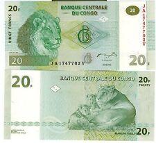 CONGO billet neuf de 20 FRANCS superbe famille de LIONS Pick94 2003