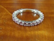 925 Band Ring Size 8 Pink Cubic Zirconia Stones Sterling Silver