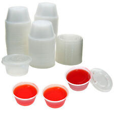 2 oz Plastic Jello Shot Cups with Lids - 125ct - Disposable & Easy to Transport
