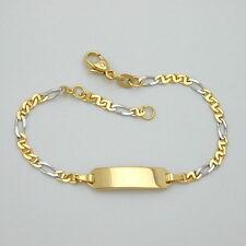 Baby Taufe Armband Bicolor Gelb- Weiß- Gold 585 (14 Kt) mit Gravur Name & Datum