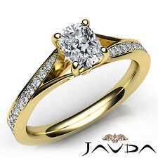 Lustrous Cushion Diamond Pave Engagement Ring GIA F VS2 18k Yellow Gold 0.68Ct