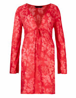 New M&S Womens ladies Red Floral Summer Kaftan Beach Holiday Sun Dress Size 8-16