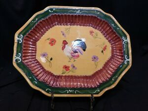 Large Colorful Stoneware Rooster Platter