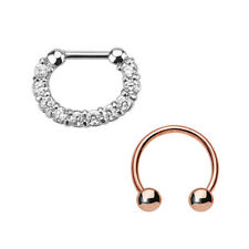 Ip Horseshoe Surgical Steel 16G Pair of Septum Rings Combo with
