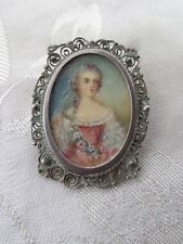Antique H Painted French Lady Portrait Miniature Silver Filigree Pin Pendant