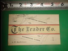 JC814 Vintage Business Card Ad The Trader Co Bloomington IL MacDougall