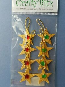 8 Gold Christmas Green and Red Star 3D embellishment - gem & loop detail (CS15)