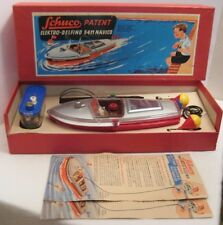 Awesome Antique Toy B.O. Boat w Box & Bouys Schuco US Zone Germany 1949 Vry Nice