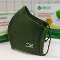 VECO Antimicrobial Washable Cotton Fabric Face Masks (Adult,  Olive Green)