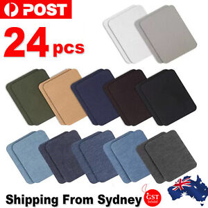 24x Assorted Iron On Denim Fabric Mending Patches Repair Kits For Denim Jeans AU