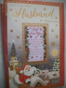 With My Love To My HUSBAND at Christmas Just For You (Santa Delivering) Card