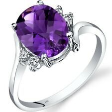 14K White Gold Amethyst Diamond Bypass Ring 2.00 Carat Size 7