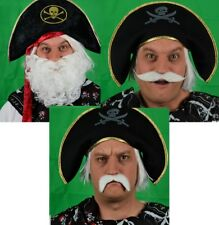 THE WHITE FANCY DRESS COLLECTION CURLY BEARD, DROOP & HANDLEBAR MOUSTACHE SET