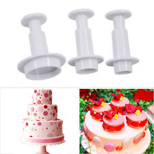 3PCS Round Circle Fondant Cake Mold Cookie Paste Plunger Cutter Decorating Mould
