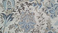 "Blue /grey/brown colors floral pattern fabric remnant  69"" long X 57 3/4"" wide"