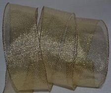 Wired Ribbon~Sheer~Christmas Fine Mesh~Holiday Gold~Metallic~Wreath~Gift ~Bow