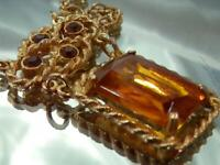 WOWOW Vintage 70's Gorgeous Rhinestone 15ct Yellow Amber Crystal Necklace 832d0