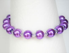 """Purple 8mm glass pearl and clear bead bracelet 7.5"""" with 1.5"""" extender"""