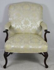 Mahogany Chippendale Style Open Arm Chair Ivory Silk Damask Upholstery