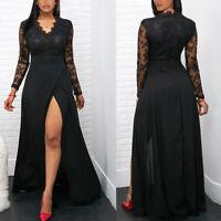 ❤️ Women's Sexy Lace Maxi Dress Ladies V Neck Evening Party Cocktail Split Gown