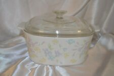 CORNING WARE 3L. PASTEL BOUQUET CASSEROLE WITH LID --SUPERB CONDITION--