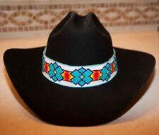 Native American Lakota Extra Wide Hat Band Beaded Hatband