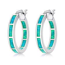 """Gemstone Silver Hoop Earrings 7/8"""" Oh4722 Simple Green Fire Opal Women Jewelry"""