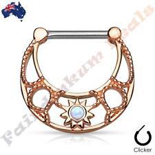 316L SSteel Rose Gold Ion Plated Nipple Ring Clicker Centre Set Opal Filigree