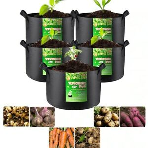 6/11 Gallons Plant Grow Bags,Heavy Nonwoven Fabric Pots With Handles Garden Lawn