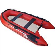 Inflatable Boat 4 Person Rafting Fishing Dinghy Set 2 Oars Air Deck 10.5 ft Red