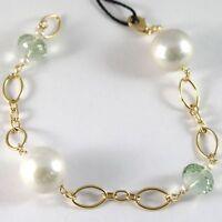 Armband Gelbgold 750 18K, Groß Weissen Perlen 15 mm, Prasiolith Grün