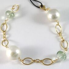 BRACELET YELLOW GOLD 750 18K, LARGE WHITE PEARLS 15 MM, PRASIOLITE GREEN