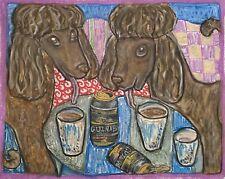 Irish Water Spaniel Drinking Guinness Original 9x12 Pastel Painting Artist Ksams