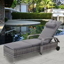 Adjustable Outdoor Cushioned Rattan Lounge Chair Sofa Chaise Bed Patio Pool Side