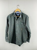 Tommy Hilfiger Men's Vintage Long Sleeve Button Up Shirt Size M Green Check