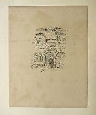 """Lithographie sur papier vergé, """"Façade"""", fin XIX ème, Joseph Pennell"""