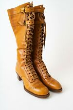 Vintage Women's Sporting Boots Tall Double Strap Top Pristine Lace up 1900-1920s