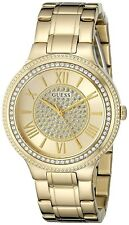 NEW GUESS LADIES U0637L2 ROMAN DIAL CRYSTALS STAINLESS GOLD IP BAND WATCH