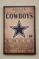 "Dallas Cowboys Classic NFL Ticket 12""x18"" NEW Artissimo Canvas Wall Art Print"