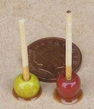 1:12 Scale 2 Loose Handmade Red & Green Toffee Apples Dolls House Food Accessory