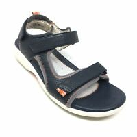 Women's Clarks Unstructured Strappy Sandals Shoes Size 8 W Wide Navy Leather X3