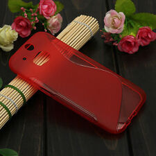 HOUSSE ETUI COQUE SILICONE GEL ROUGE  HTC ONE M8