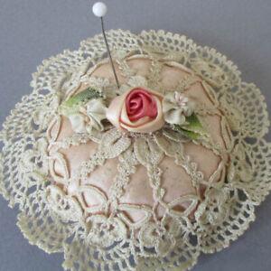"Antique Handmade PINK SILK Satin + Ecru LACE 3"" PIN CUSHION Ribbonwork Flowers"
