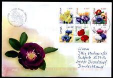 Blumen. FDC-Brief mit Briefmarken. Lettland 2014
